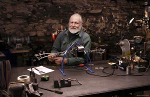 Bob Potts Kinetic Sculpture, artist in his studio